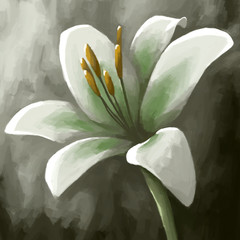 digital panting flower lily white