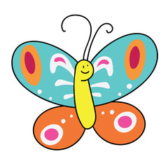 Colored butterfly on white background. vector illustration