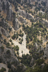 Rocks collapse at Imbros Gorge in Crete. Greece