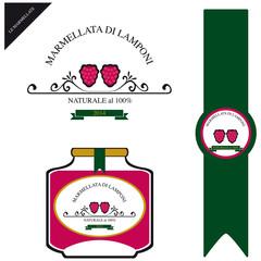 Etichetta per la marmellata di lamponi