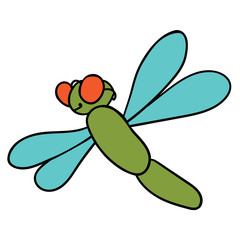 Green dragonfly on white background. Vector illustration