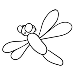 Dragonfly on white background. Vector illustration