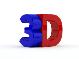 three dimensional - 3D text - Blue and red