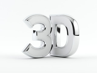 three dimensional - 3D text - Chrome outline