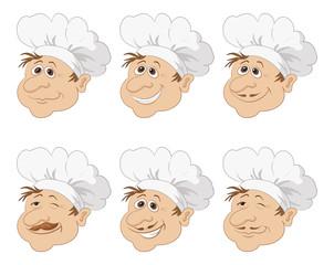 Set cartoon heads chef in a toque caps