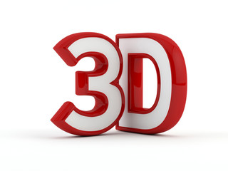 three dimensional - 3D text - Red outline