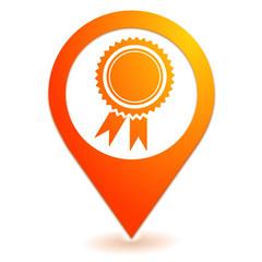 médaille label sur symbole localisation orange