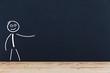 canvas print picture - Strichmännchen auf Schwarzem Hintergrund