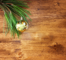 christmas decoration on a woodwn board