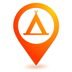 tente de camping sur symbole localisation orange