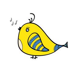 Doodle of yello singing bird