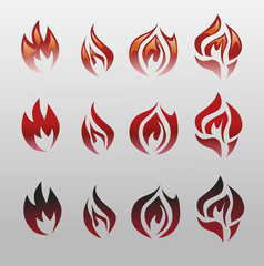 Icons vector flames, fire