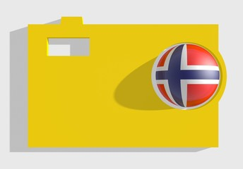 photo cam icon, sphere textured by norway flag in ojective