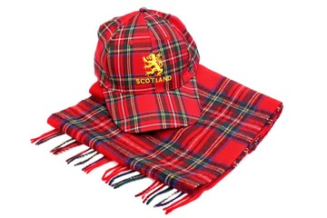 Red tartan cap with scottish arms and tartan scarves