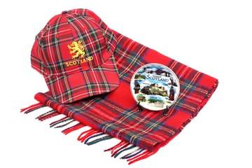 Scottish Red tartan cap, tartan scarves and souvenir plate