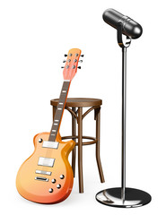 3D Electric guitar stool and microphone