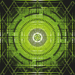 Abstract green element over black background