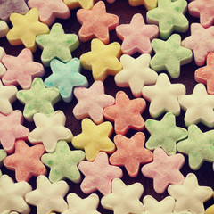 Colorful candy stars old retro vintage style