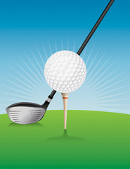 Golf Ball and Driver Illustration