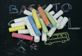 colored chalk on a blackboard