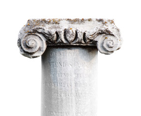 ancient stone classic column on white background