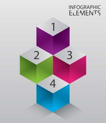 Illustration of modern abstract 3d cube infographic elements