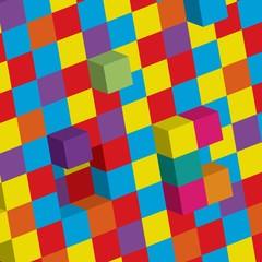 Illustration of 3d cubes background
