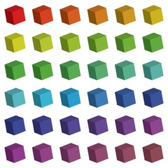 Illustration of 3D Cube Colour Swatches
