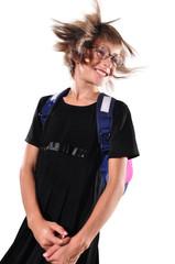 schoolchild isolated over white