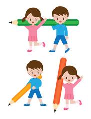 鉛筆と子供(女の子、男の子)