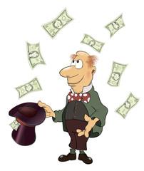 A business man, gnome with money cartoon