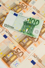 Vertical closeup of one hundred euro banknote