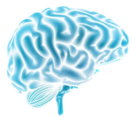 Glowing blue brain concept