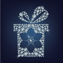 Gift present with snowflake made up a lot of diamonds