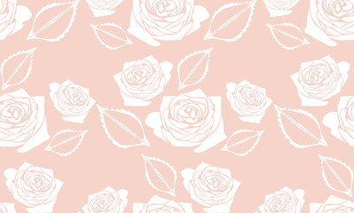 Seamless pink background with stylized roses
