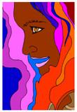profilo di donna su sfondo colorato