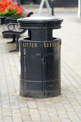 Black litter bin