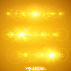 Sun effects. Vector illustration