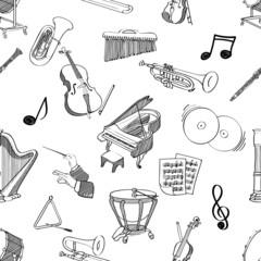 classical music stuff seamless pattern