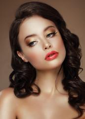 Visage. Evening Makeup. Stylish Woman with Golden Eyeshadows