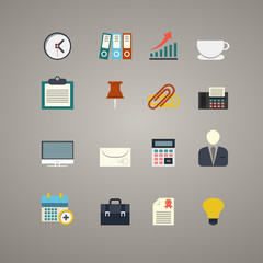 Vector flat business and office icons set