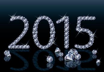 Happy New 2015 diamond year, vector illustration