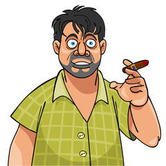 Cartoon man with cigar scared