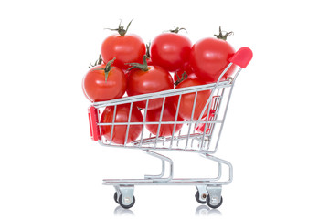 Tomatoes in shopping cart