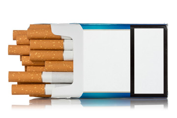 Pack of cigarettes on white background