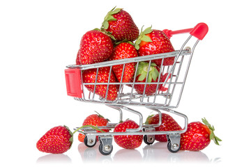 Strawberries in shopping cart