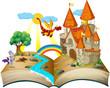 Obrazy na płótnie, fototapety, zdjęcia, fotoobrazy drukowane : Book about dragons and knights