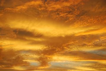 Evening sky sunset, yellow clouds