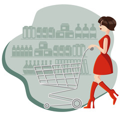 Woman shopping at the grocery shop