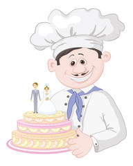 Cartoon cook with holiday wedding cake